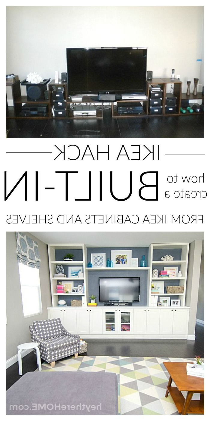 Diy Built In Using Ikea Cabinets And Shelves | Blogger Home Projects Pertaining To Dixon White 84 Inch Tv Stands (View 5 of 16)