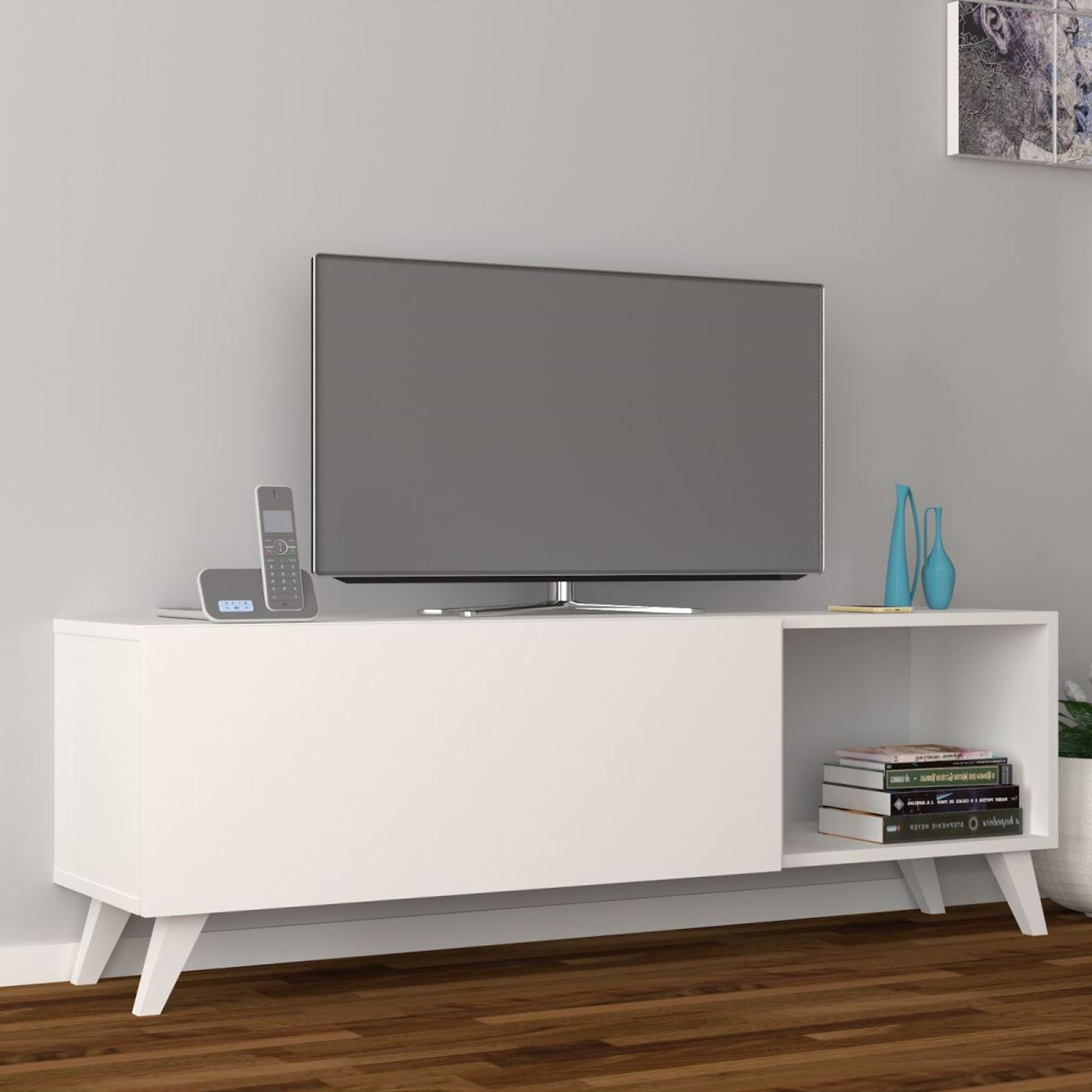 Dmodül Smart Tv Ünitesi 140 Cm | Dekorazon In Ducar 74 Inch Tv Stands (View 7 of 20)