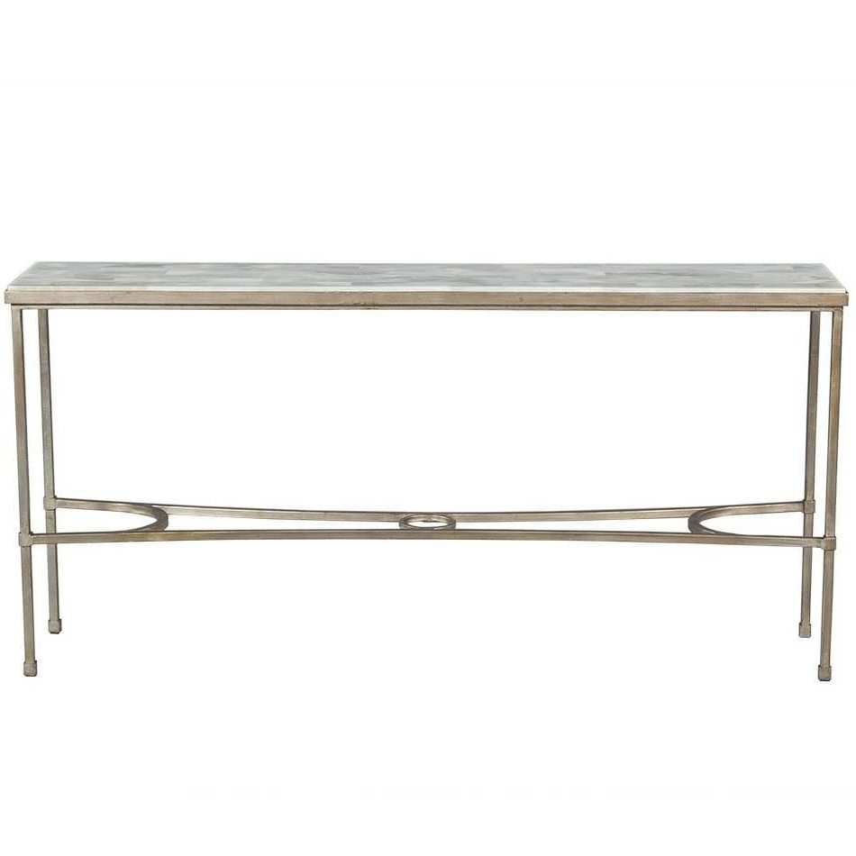 Dove White Split Face Stone Top Metal Console Table | My 1stdibs With Roman Metal Top Console Tables (View 4 of 20)