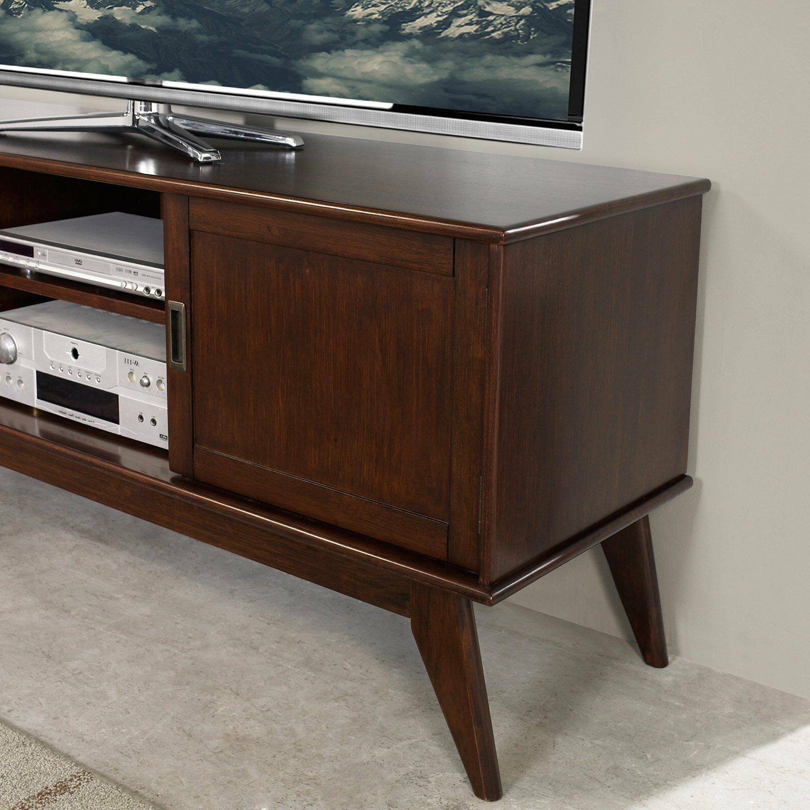 Draper Mid Century Medium Tv Media Stand 60 – Simpli Home | Ebay With Draper 62 Inch Tv Stands (View 5 of 20)