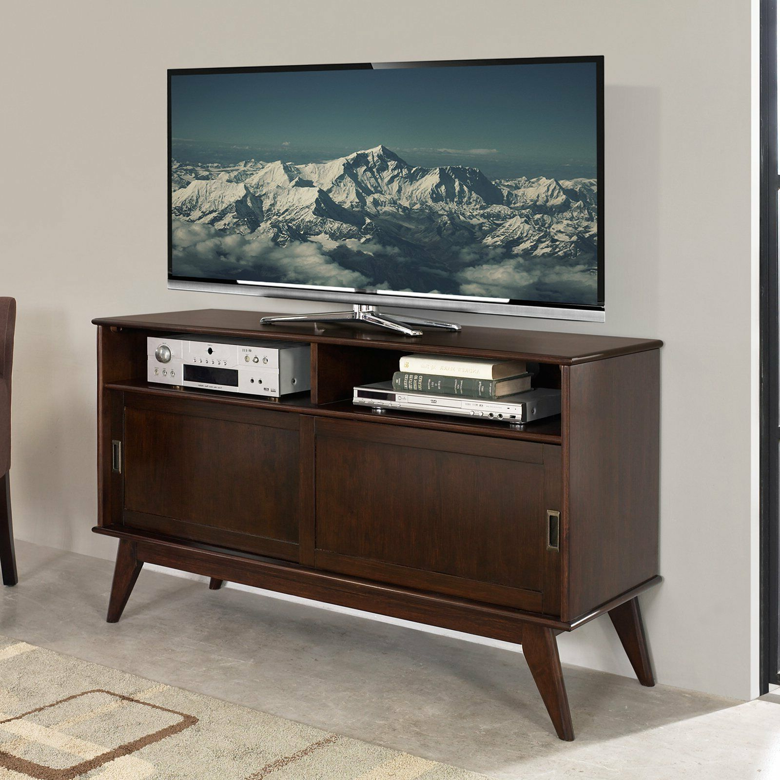 Draper Mid Century Medium Tv Media Stand 60 – Simpli Home | Ebay Within Draper 62 Inch Tv Stands (View 6 of 20)