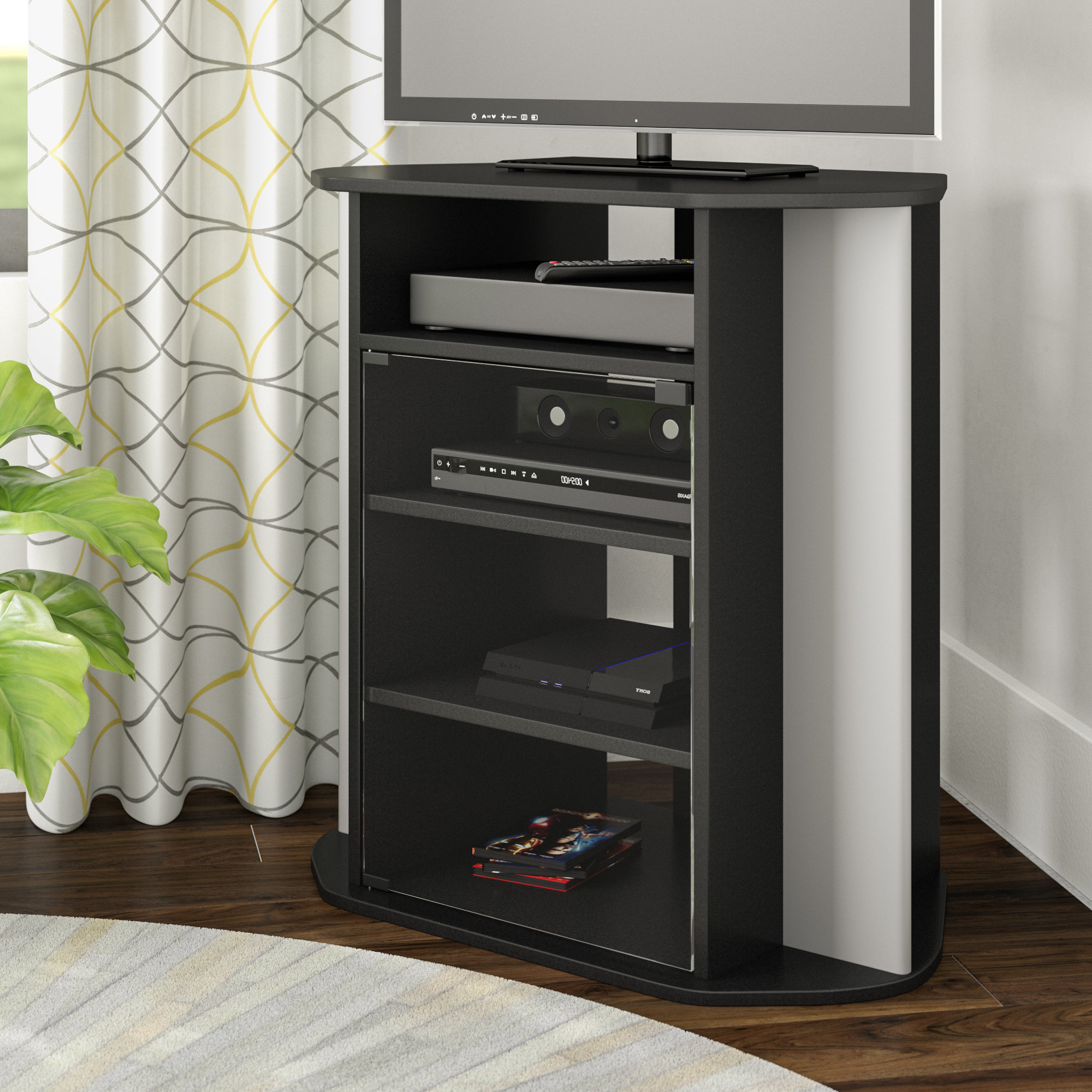 "Ebern Designs Mingus Corner Tv Stand For Tvs Up To 28"" & Reviews With Walton 74 Inch Open Tv Stands (Gallery 13 of 20)"