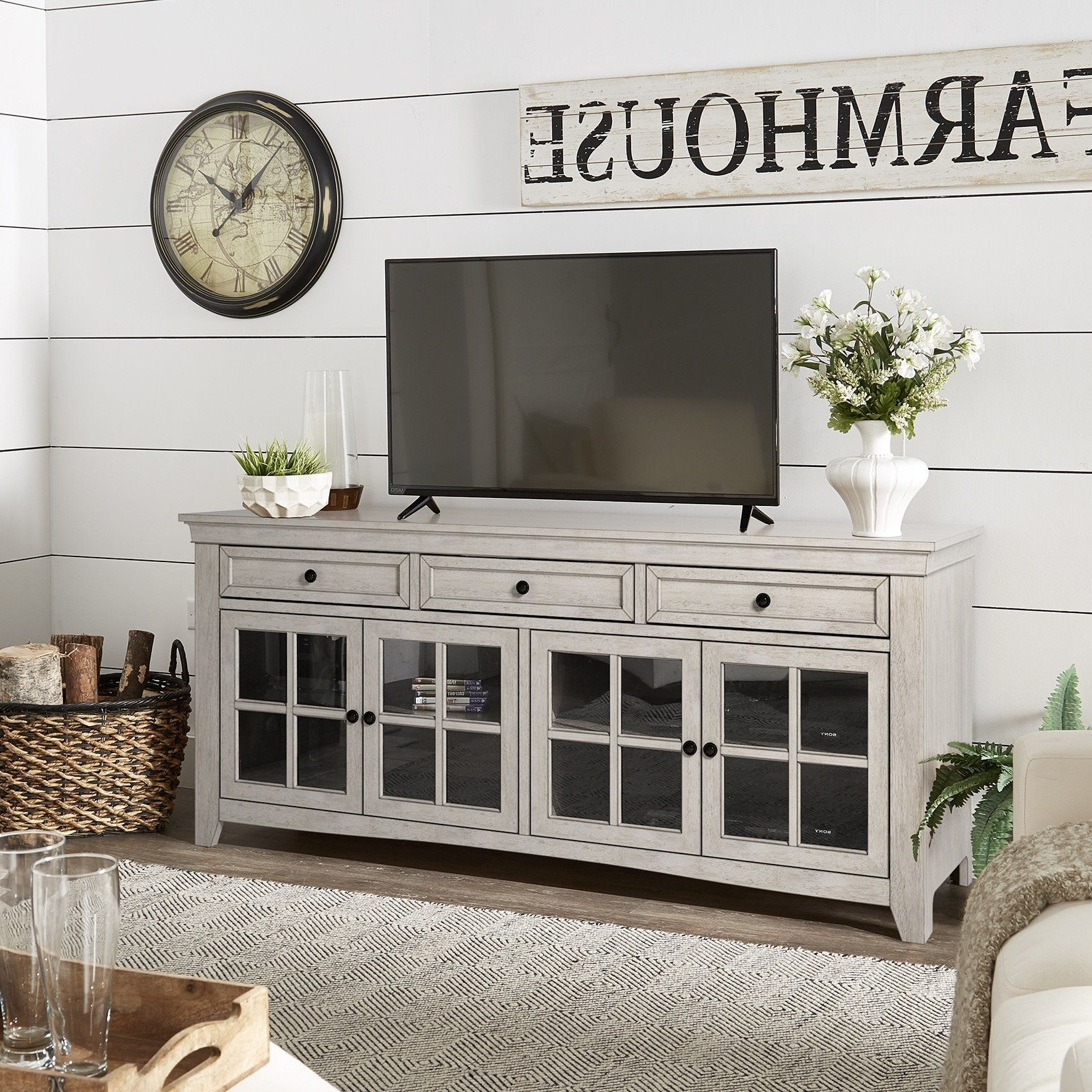 Ediline 70 Inch 3 Drawer Console Table Tv Stand With Glass Door And Pertaining To Sinclair Grey 68 Inch Tv Stands (View 7 of 20)