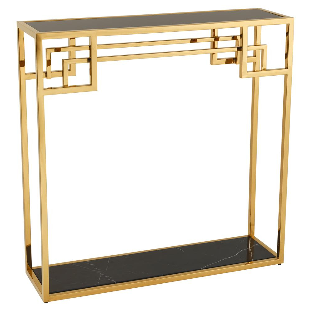 Eichholtz Morris Hollywood Regency Black Marble Glass Gold Frame Intended For Frame Console Tables (View 19 of 20)
