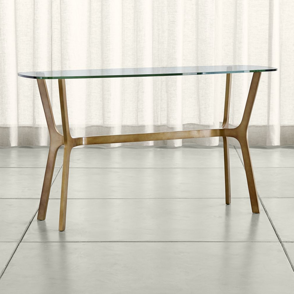 Elke Glass Console Table With Brass Base | Products | Console Table Regarding Elke Marble Console Tables With Polished Aluminum Base (Gallery 1 of 20)