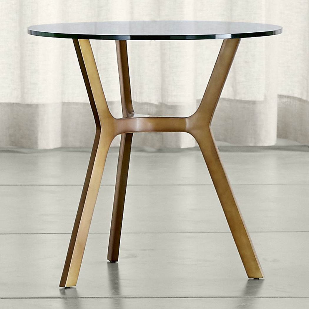 Elke Glass End Table With Brass Base | Family Room #6 | Table, Glass Intended For Elke Marble Console Tables With Polished Aluminum Base (Gallery 3 of 20)