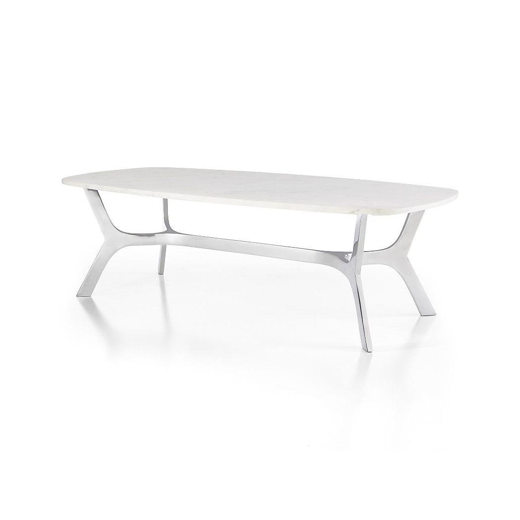 Elke Rectangular Marble Coffee Table With Polished Aluminum Base Regarding Elke Marble Console Tables With Polished Aluminum Base (View 4 of 20)