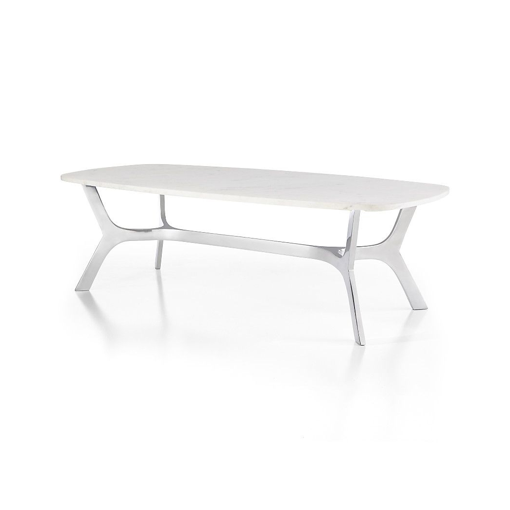 Elke Rectangular Marble Coffee Table With Polished Aluminum Base With Elke Glass Console Tables With Polished Aluminum Base (View 3 of 20)