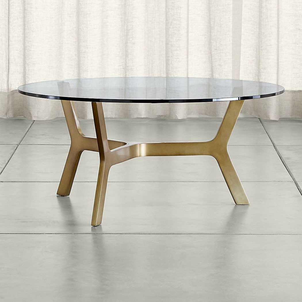 Elke Round Glass Coffee Table With Brass Base | Family Room Inside Elke Glass Console Tables With Polished Aluminum Base (View 5 of 20)