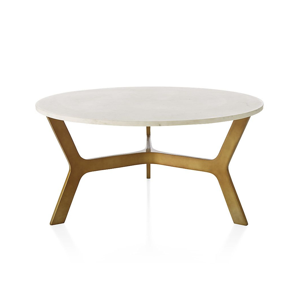 Elke Round Marble Coffee Table With Brass Base | Living Room | Round Inside Elke Marble Console Tables With Polished Aluminum Base (Gallery 4 of 20)