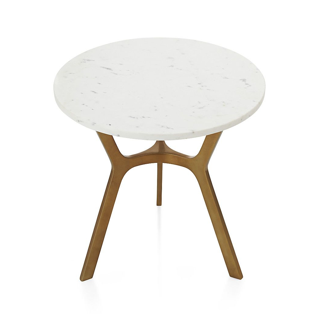Elke Round Marble End Table With Brass Base | Mid Century Modern Pertaining To Elke Marble Console Tables With Brass Base (Gallery 15 of 20)
