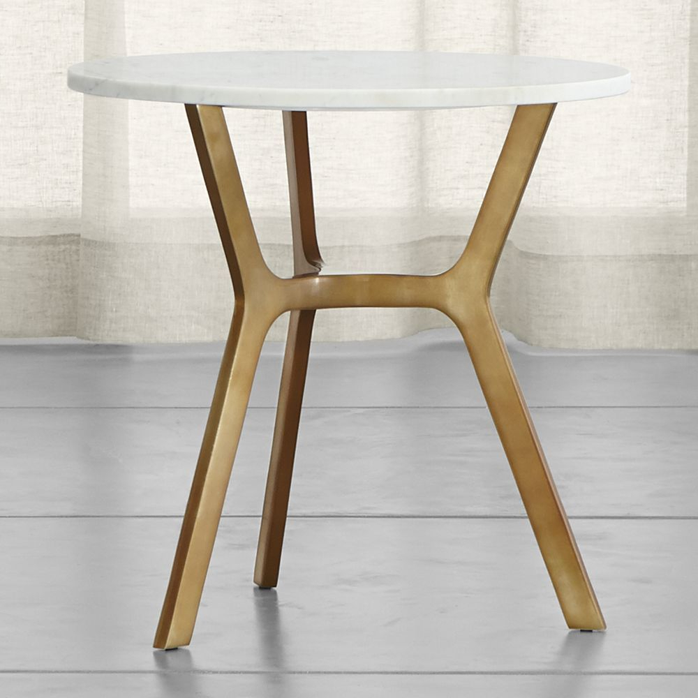 Elke Round Marble End Table With Brass Base | Products | Pinterest Inside Elke Glass Console Tables With Polished Aluminum Base (View 6 of 20)