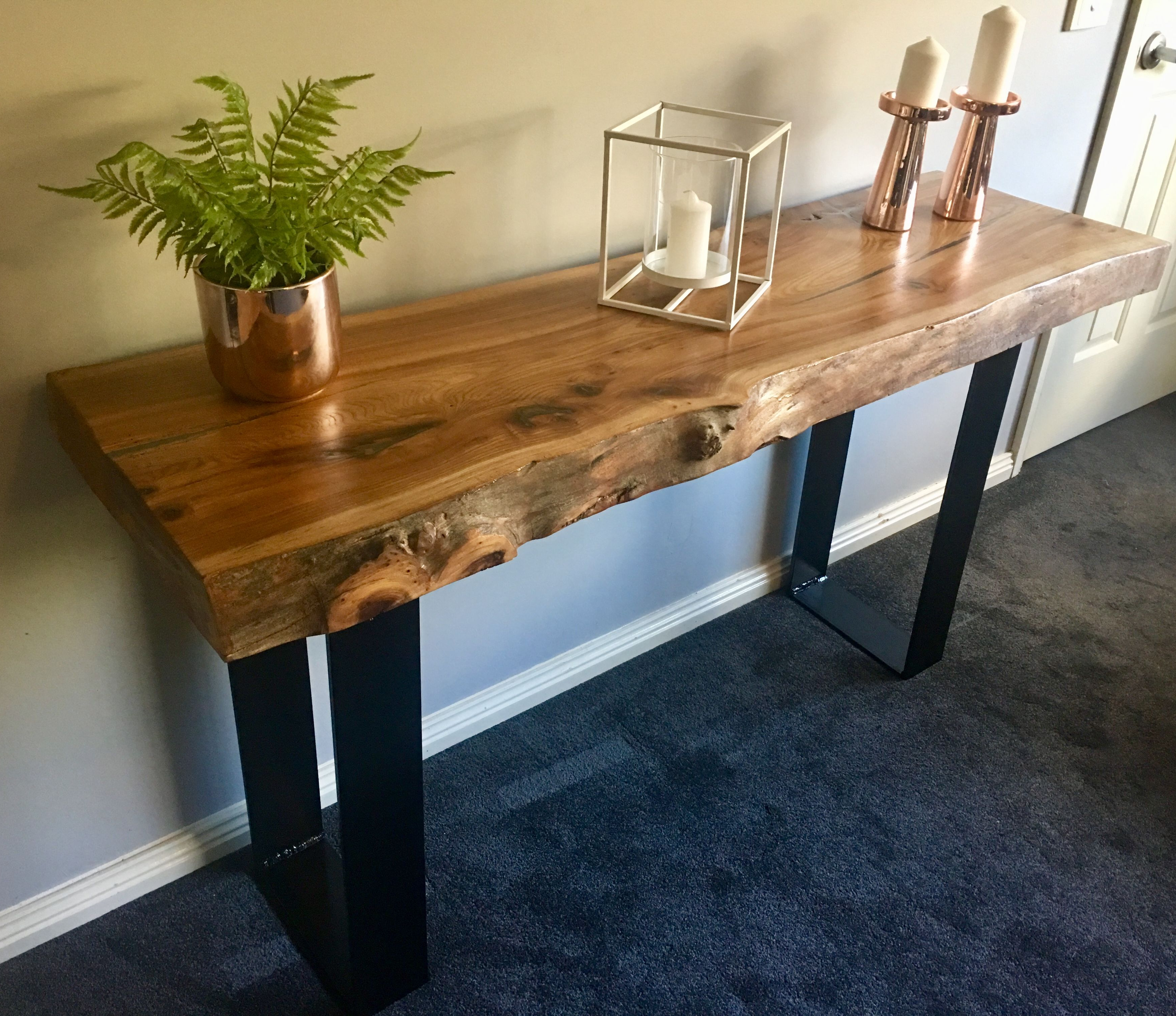 Elm Slab Hall Console With Black Flat Bar Metal Legs Madewww Inside Yukon Natural Console Tables (View 17 of 20)