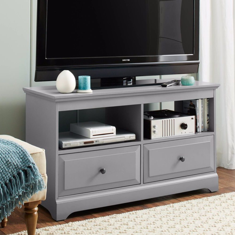 Entertainment Center Gray Tv Stand Media Console Storage Drawers Intended For Sinclair White 64 Inch Tv Stands (View 18 of 20)