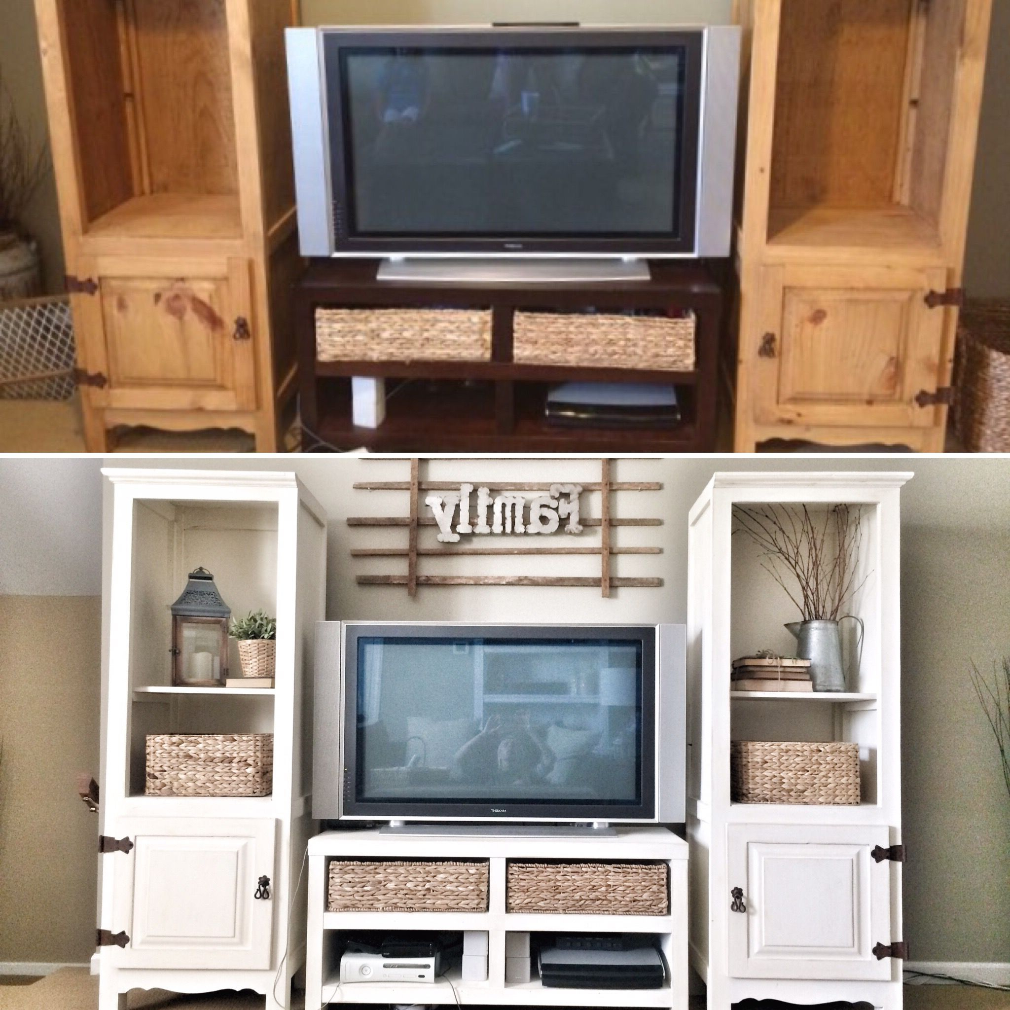Entertainment Center Makeover. Before And After Ig @bless_This_Nest Regarding Jaxon 76 Inch Plasma Console Tables (Gallery 12 of 20)