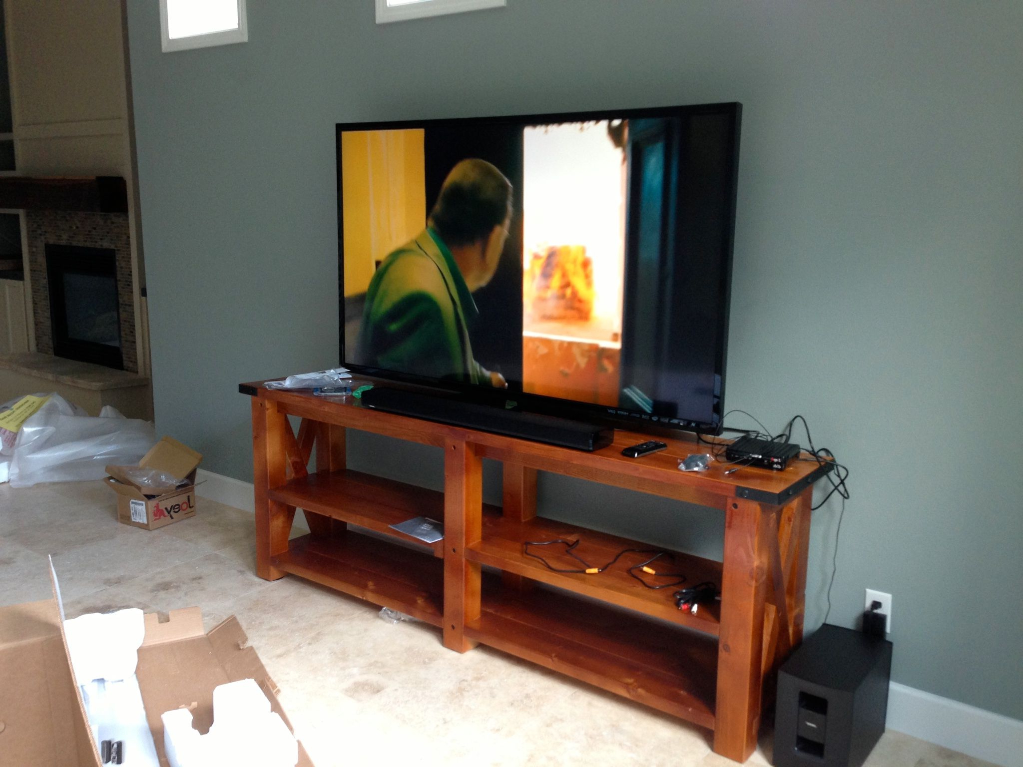 Entertainment Center Out Of 2X4's And 4X4 Timbers. | Woodworking In Pertaining To Marvin Rustic Natural 60 Inch Tv Stands (Gallery 10 of 20)