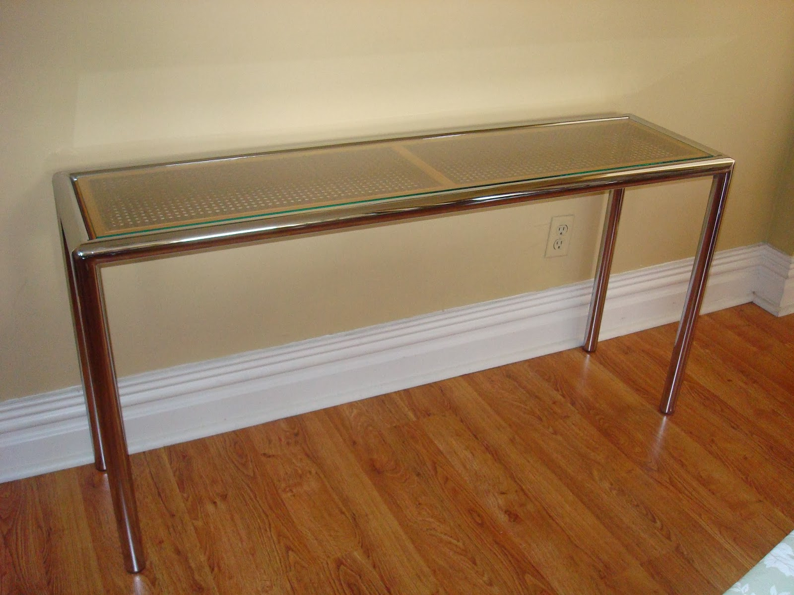 Era Antiques: 1970´s Milo Baughman Tubular Chrome Sofa/console Table Inside Era Glass Console Tables (View 7 of 20)