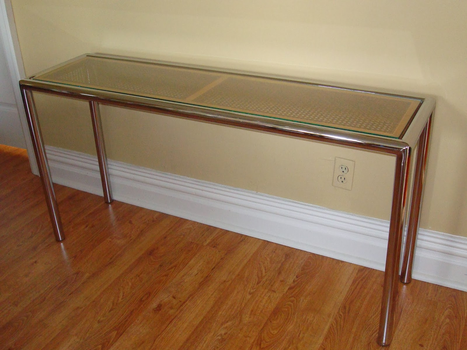 Era Antiques: 1970´s Milo Baughman Tubular Chrome Sofa/console Table Inside Era Glass Console Tables (View 4 of 20)