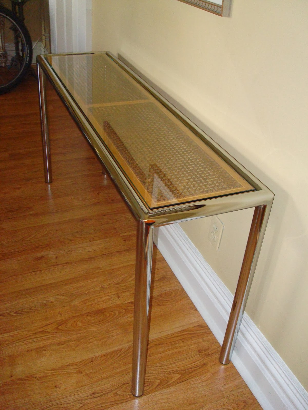 Era Antiques: 1970´s Milo Baughman Tubular Chrome Sofa/console Table With Era Glass Console Tables (View 13 of 20)