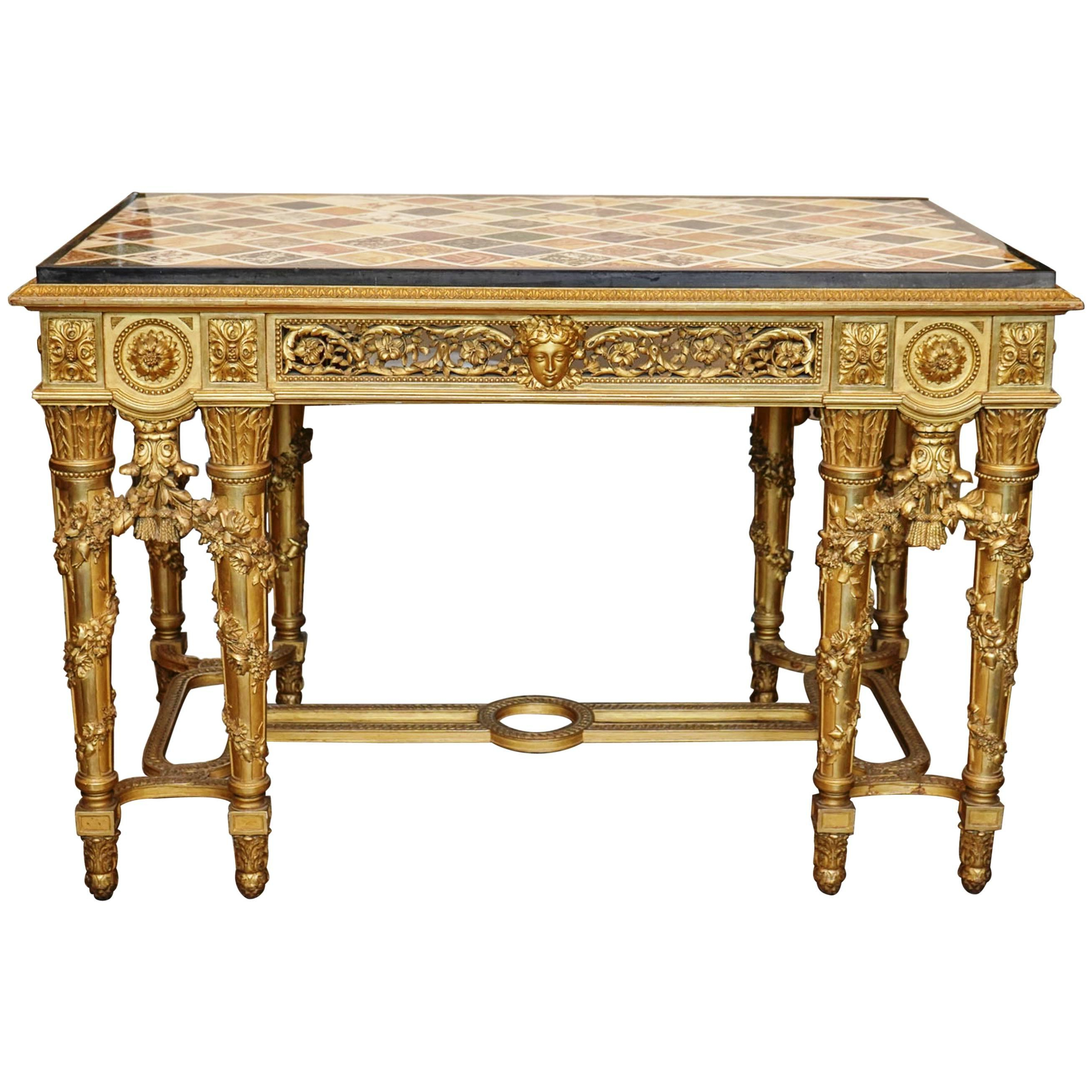 Extraordinary Rectangular Giltwood Centre Table 19th Century Marble Pertaining To Intarsia Console Tables (View 15 of 20)