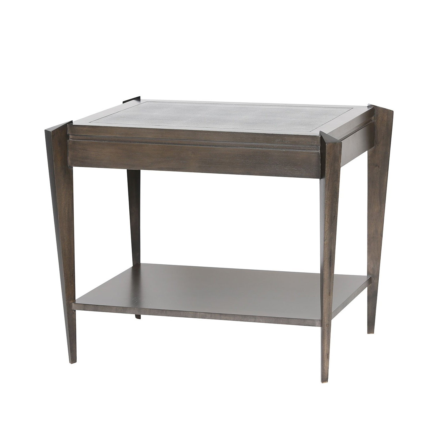 Ezra Tiered Side Table – Grey Shagreen | Jkm Home Nn0049F For Grey Shagreen Media Console Tables (View 2 of 20)