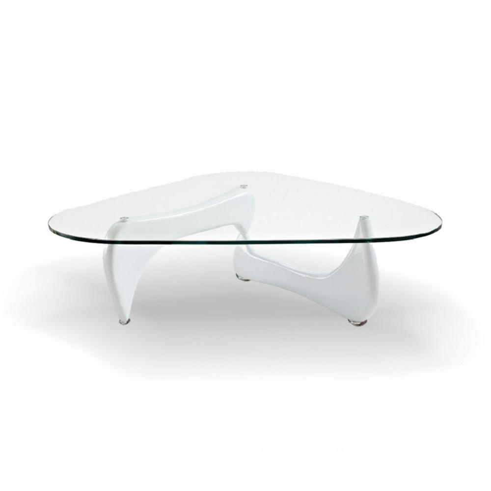 Fab Glass And Mirror Noguchi Style Coffee Table White Color With Regarding Elke Glass Console Tables With Polished Aluminum Base (View 8 of 20)