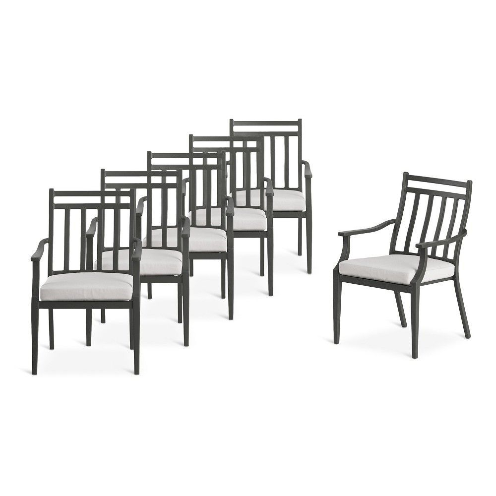 Fairmont Steel 6Pc Patio Dining Chairs – Linen – Threshold With Parsons Black Marble Top & Dark Steel Base 48X16 Console Tables (View 5 of 20)
