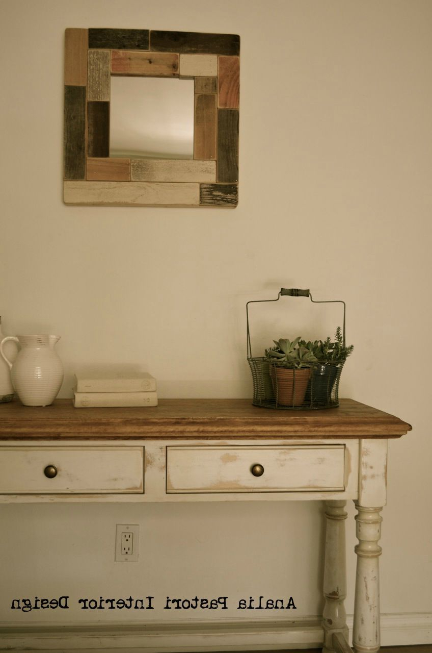 Farmhouse Console Table. Distressed Antique White (View 6 of 20)