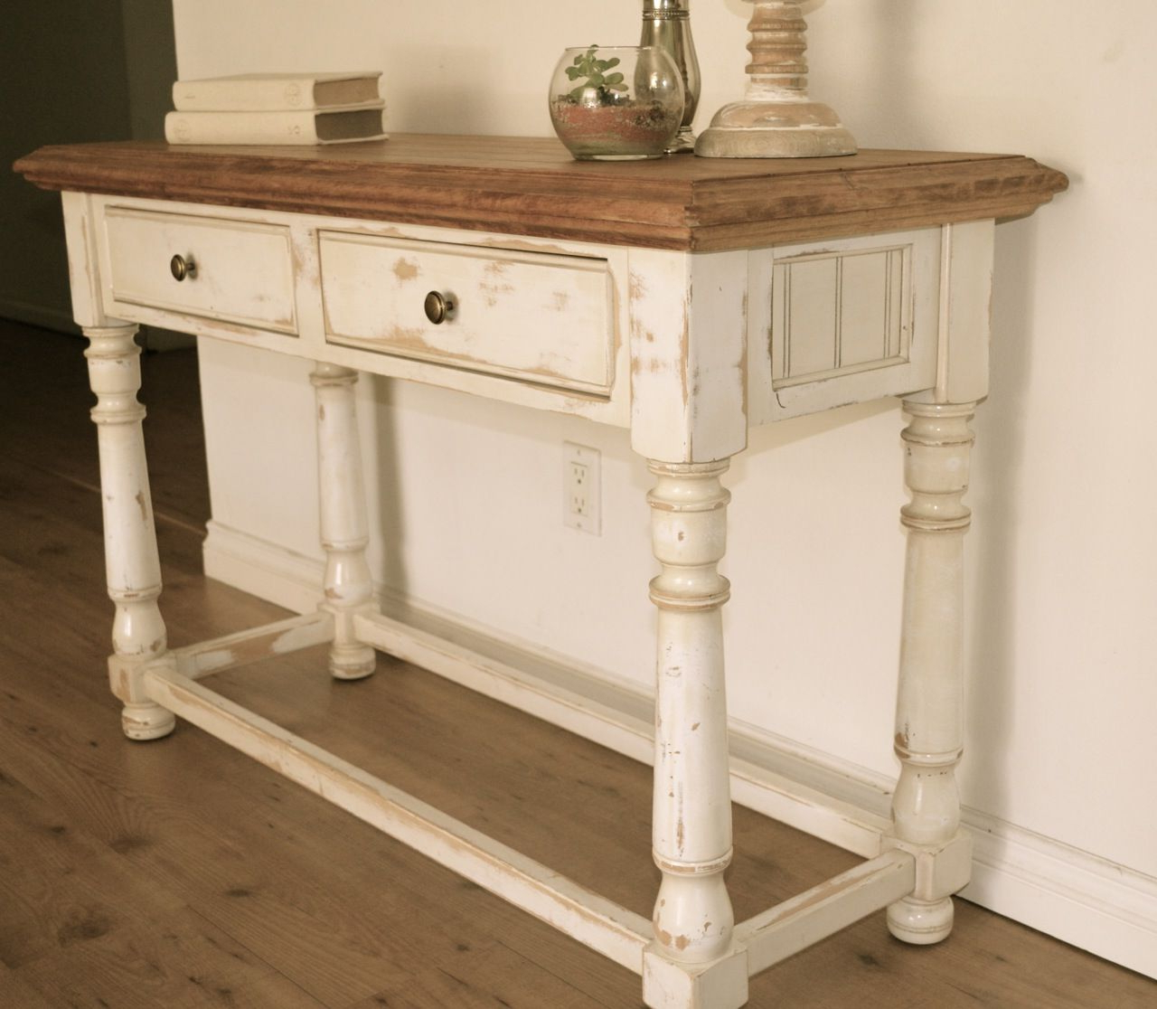 Farmhouse Style Console Table. Distressed White Paint, Light Stain Throughout Antique White Distressed Console Tables (Gallery 1 of 20)