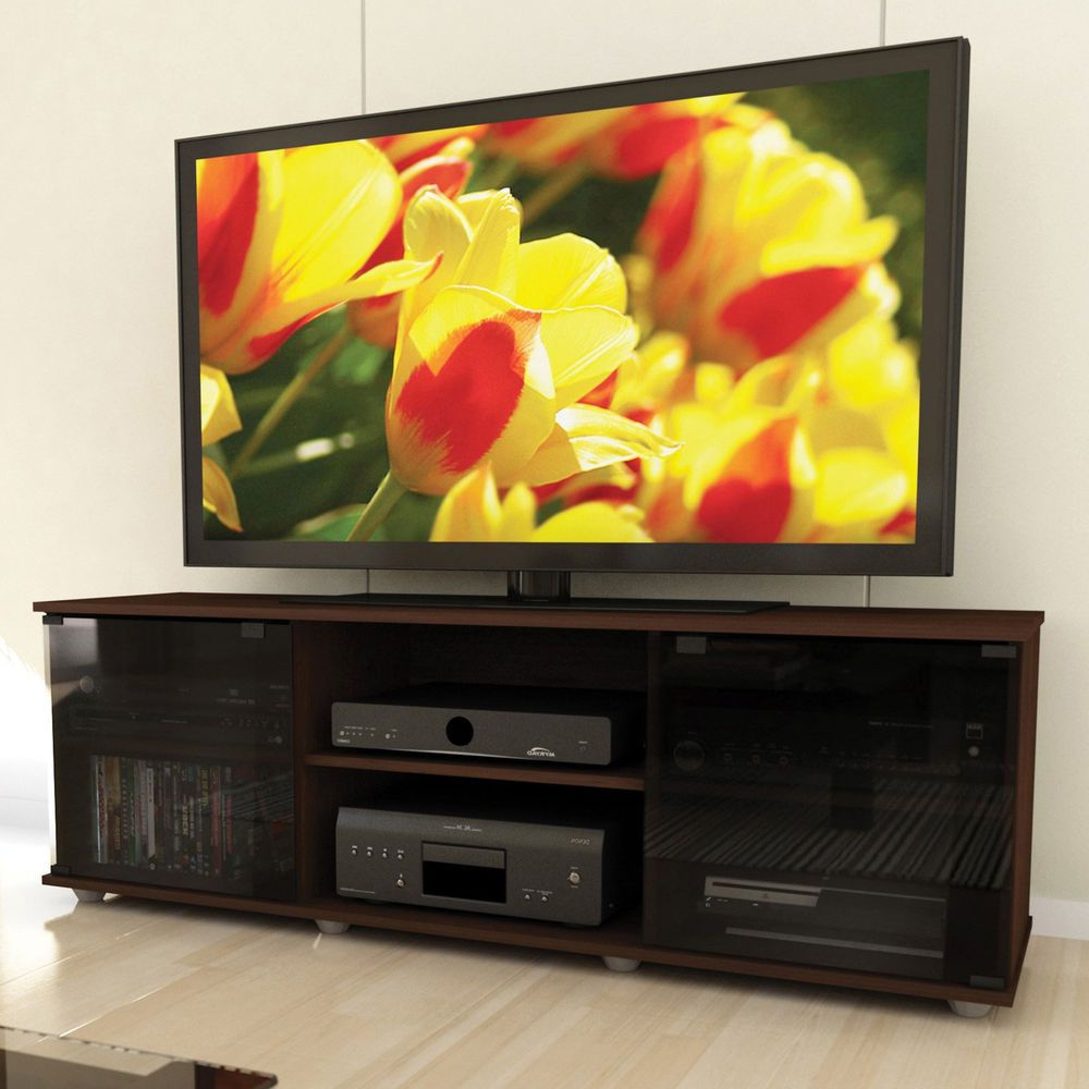 Flat Screen Tv Stand Media Storage Console Cabinet Wood Inside Edwin Black 64 Inch Tv Stands (View 7 of 20)