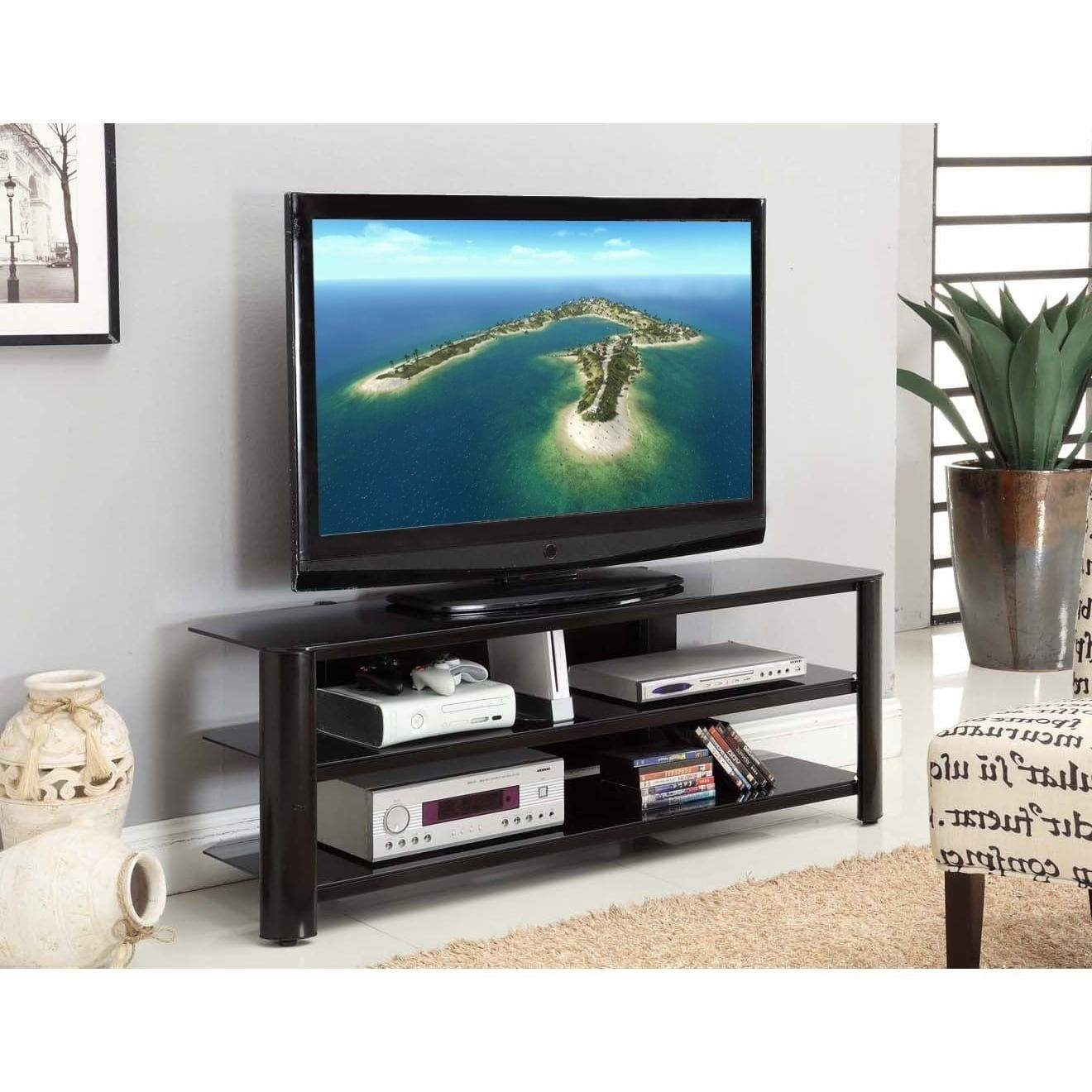 "Fold 'n' Snap Oxford Ez Black Innovex Tv Stand (20.9W X 73""w X  (View 12 of 20)"
