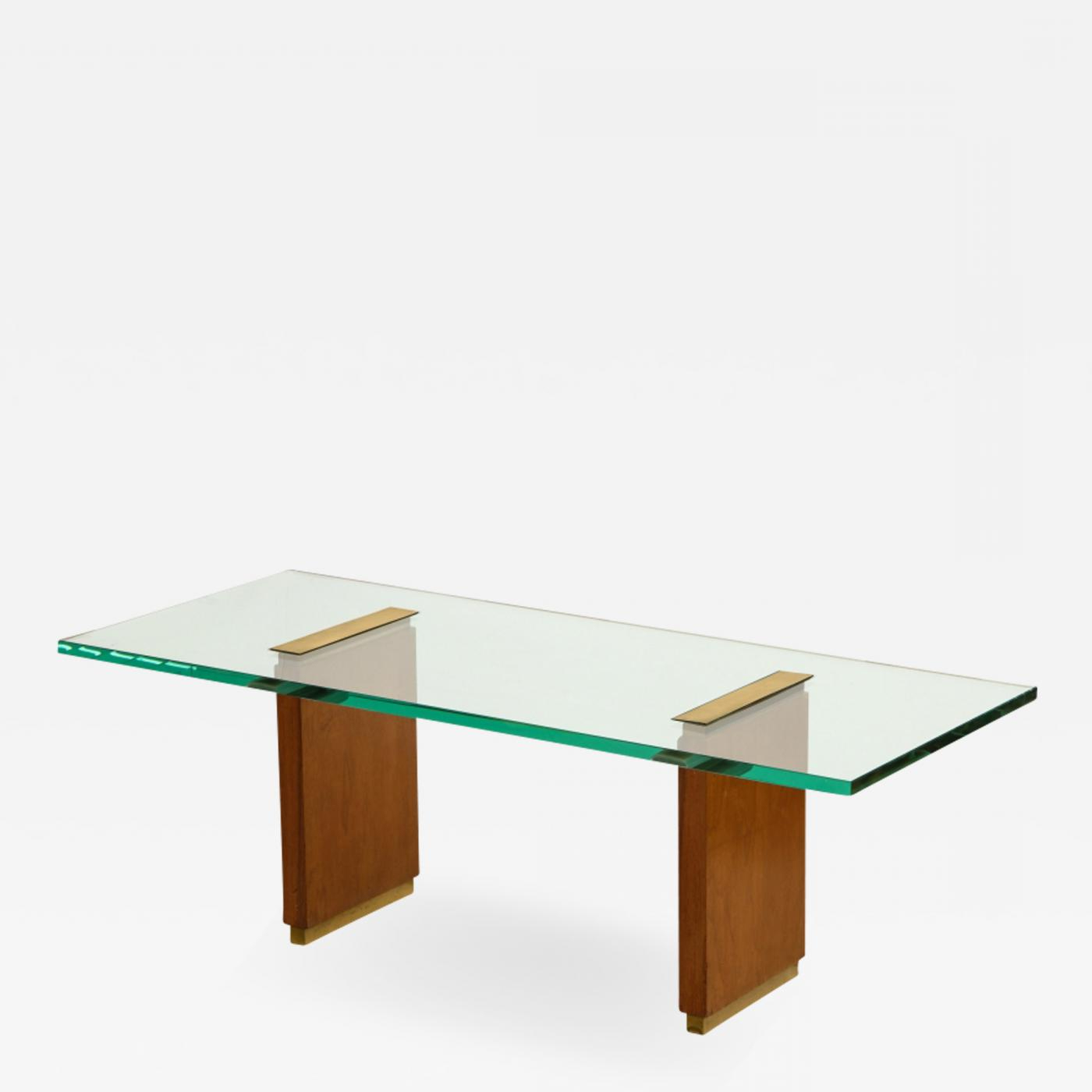 Fontana Arte – Glass Top Low Table With Oak Supports And Brass With Regard To Oak & Brass Stacking Media Console Tables (View 7 of 20)