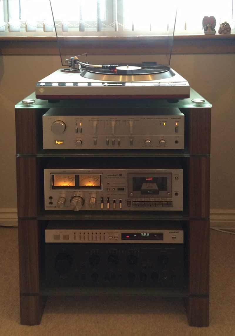 Four Shelf Walnut Stax 400 Hifi Rack, Etched Glass, With Technics With Marvin Rustic Natural 60 Inch Tv Stands (Gallery 15 of 20)
