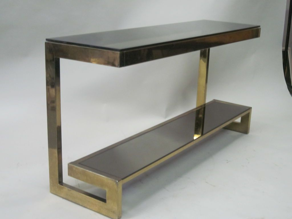 French Mid Century Modern Double Level Brass Console / Sofa Table Throughout Phillip Brass Console Tables (Gallery 2 of 20)