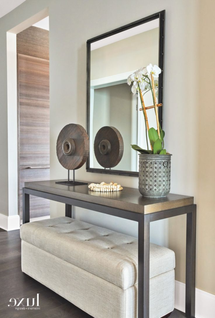 Functional Entryway In Contemporary Chicago Apartment | Foyer | Home Pertaining To Parsons Concrete Top & Brass Base 48X16 Console Tables (Gallery 15 of 20)