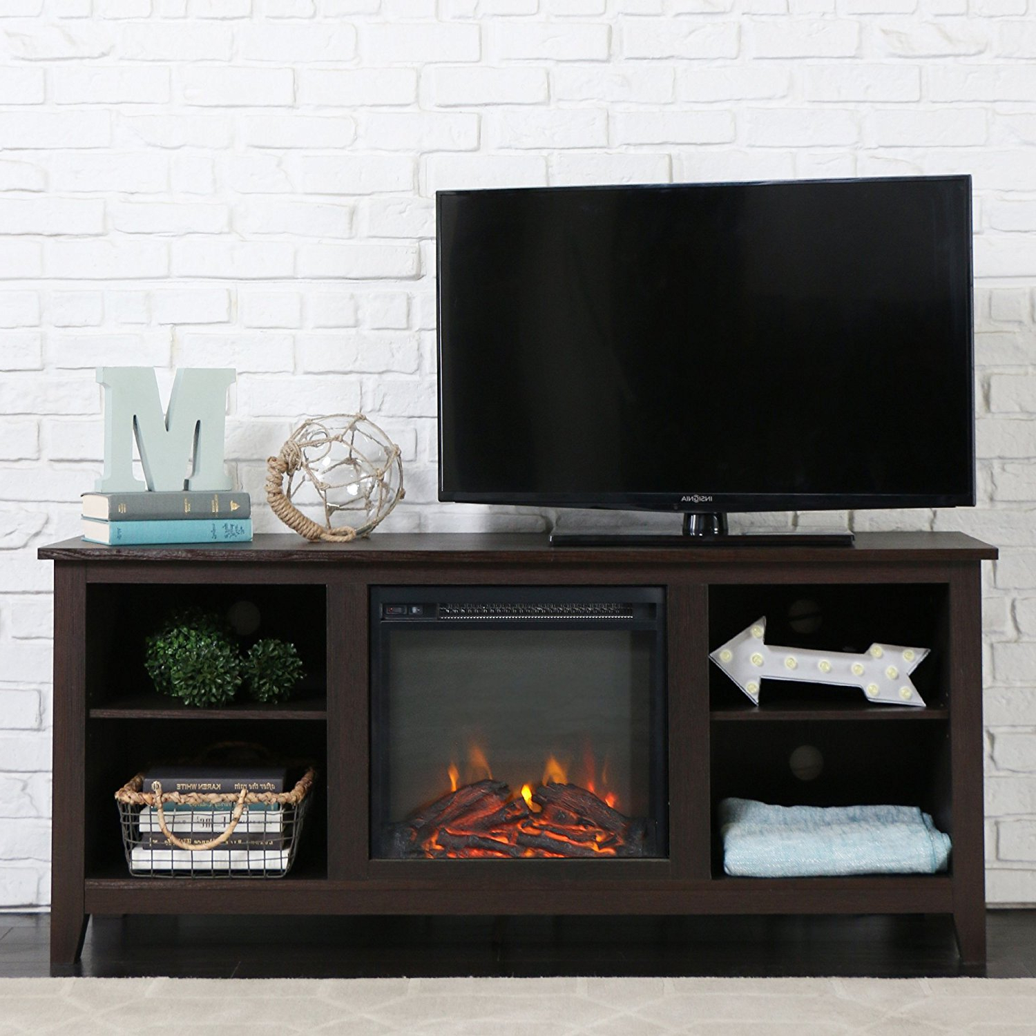 Furniture: Amazing Tv Stand With Fireplace For Your Flat Screen Tv With Willa 80 Inch Tv Stands (View 10 of 20)