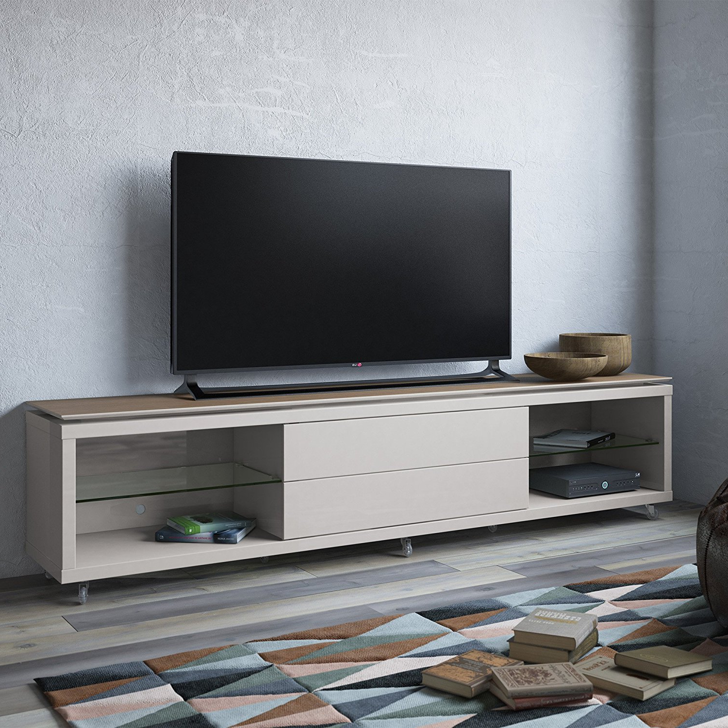 Furniture: Annabelle Black 70 Inch Tv Stand | Living Spaces Intended For Annabelle Cream 70 Inch Tv Stands (View 3 of 20)