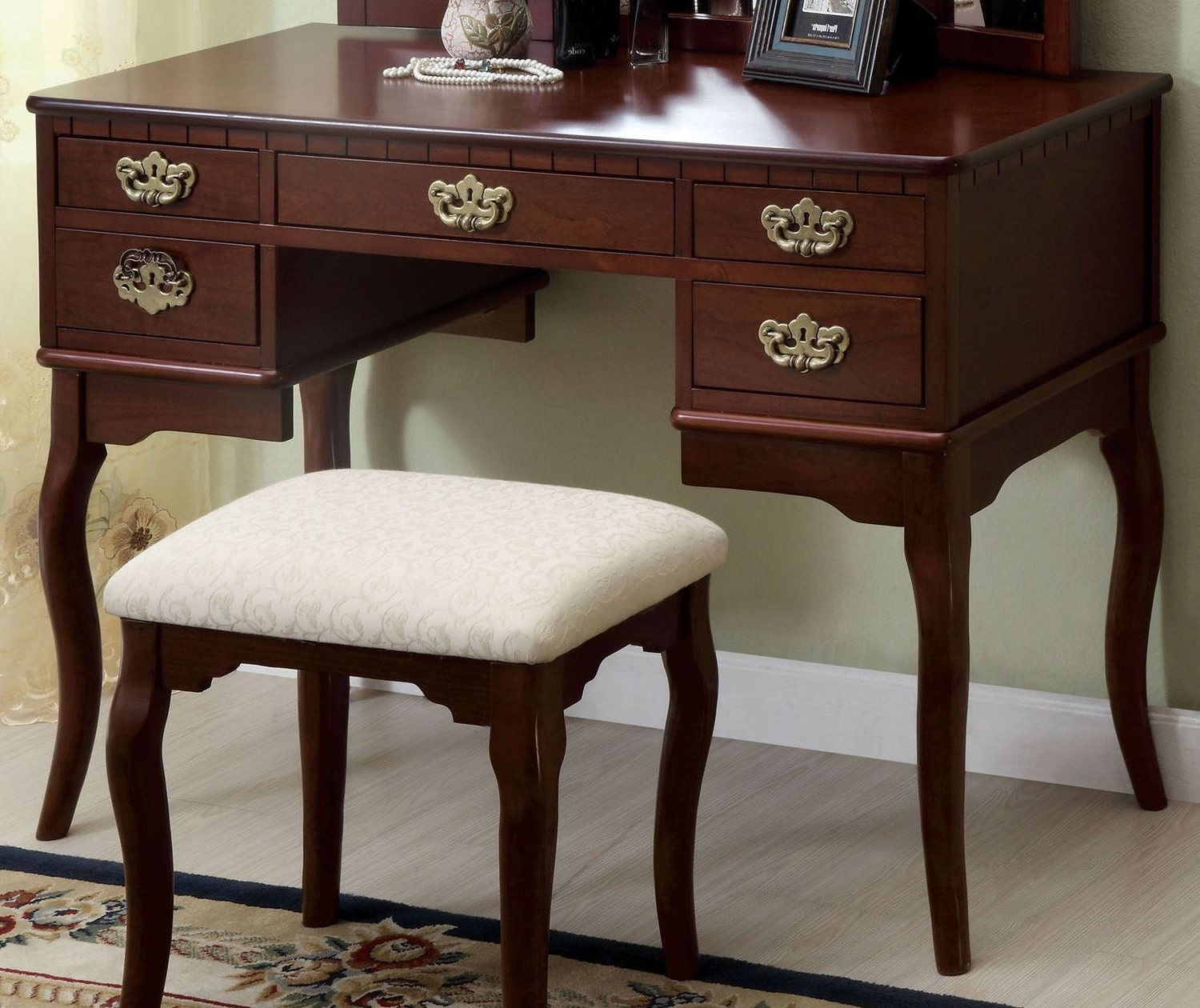 Furniture Of America Ashland Cherry Vanity Table – Ashland In Chari Media Center Tables (View 4 of 20)