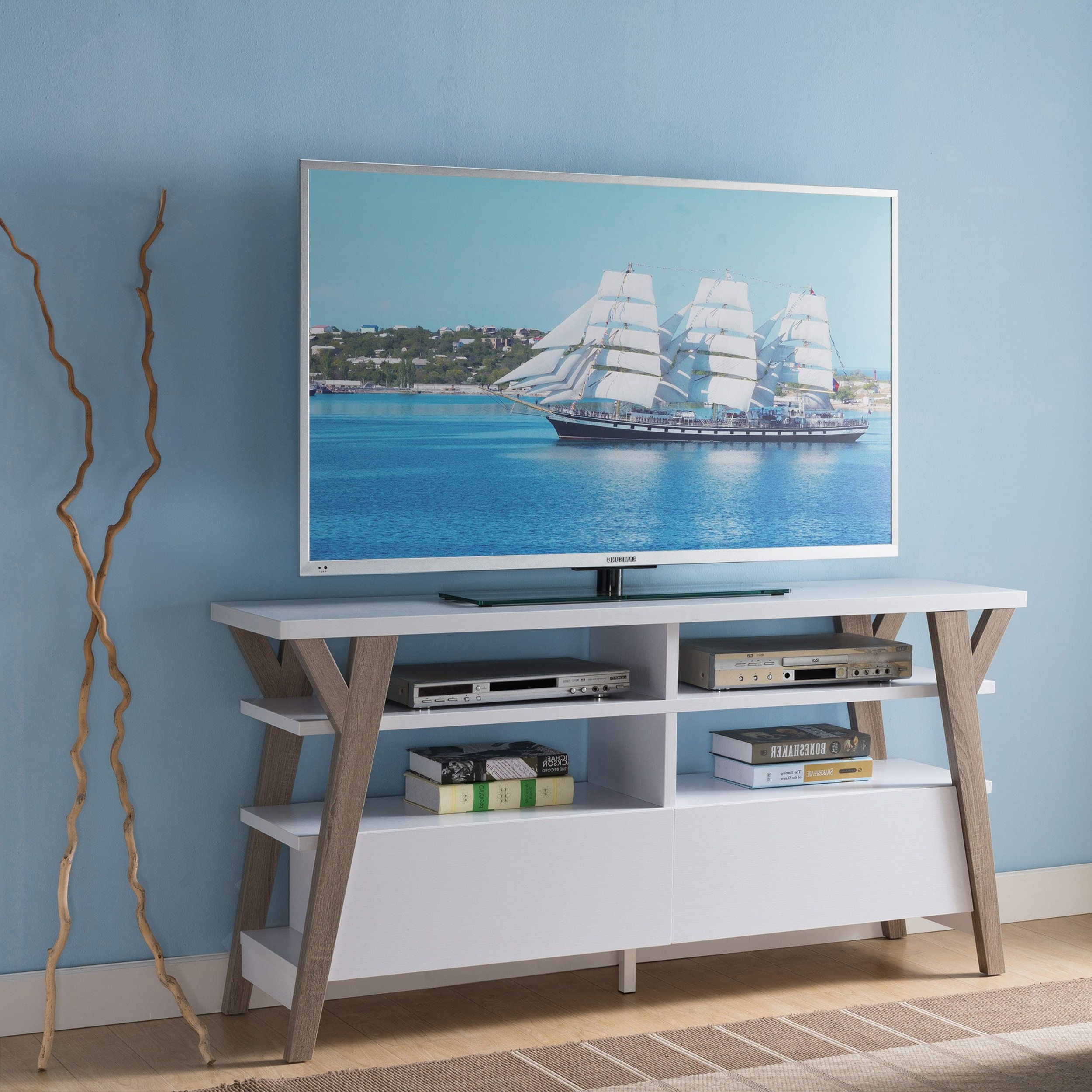 Furniture Of America Celeste White/ Light Oak Two Tone 60 Inch For Century White 60 Inch Tv Stands (Gallery 12 of 20)