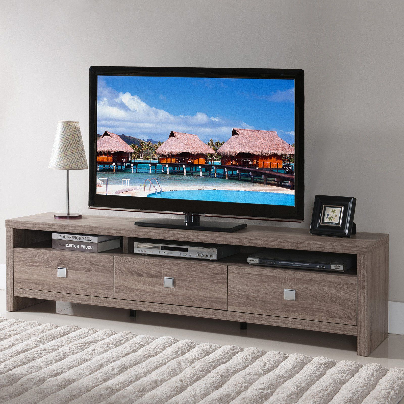 Furniture Of America Contemporary Tv Stand | From Hayneedle Inside Kenzie 72 Inch Open Display Tv Stands (Gallery 15 of 20)