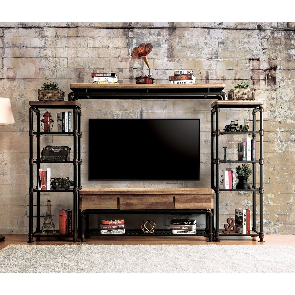 Furniture Of America Herman Industrial Antique Black 60 Inch Tv Throughout Cato 60 Inch Tv Stands (View 5 of 20)