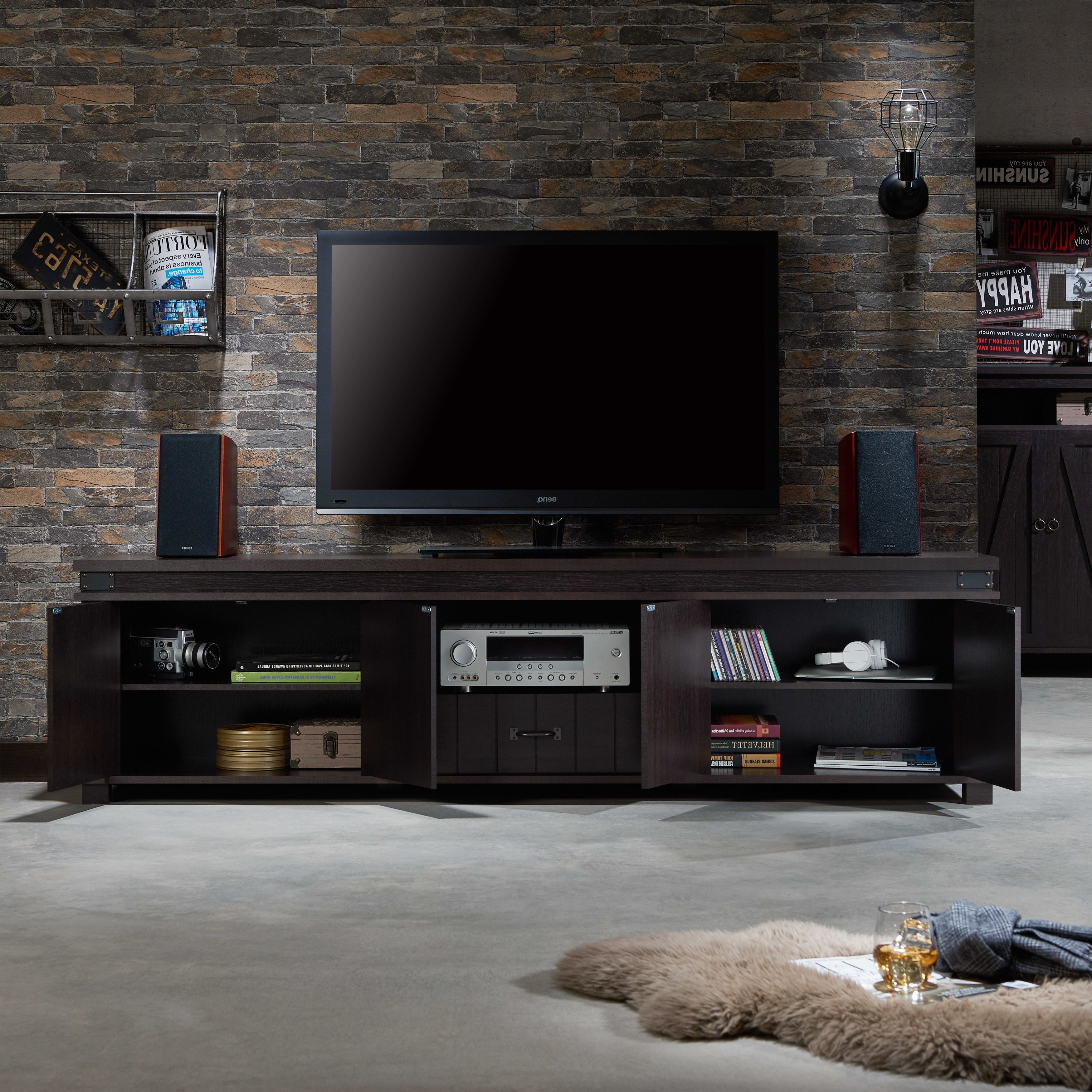 Furniture Of America Teglar Espresso Finish Wood 82 Inch Tv Stand Intended For Willa 80 Inch Tv Stands (Gallery 12 of 20)