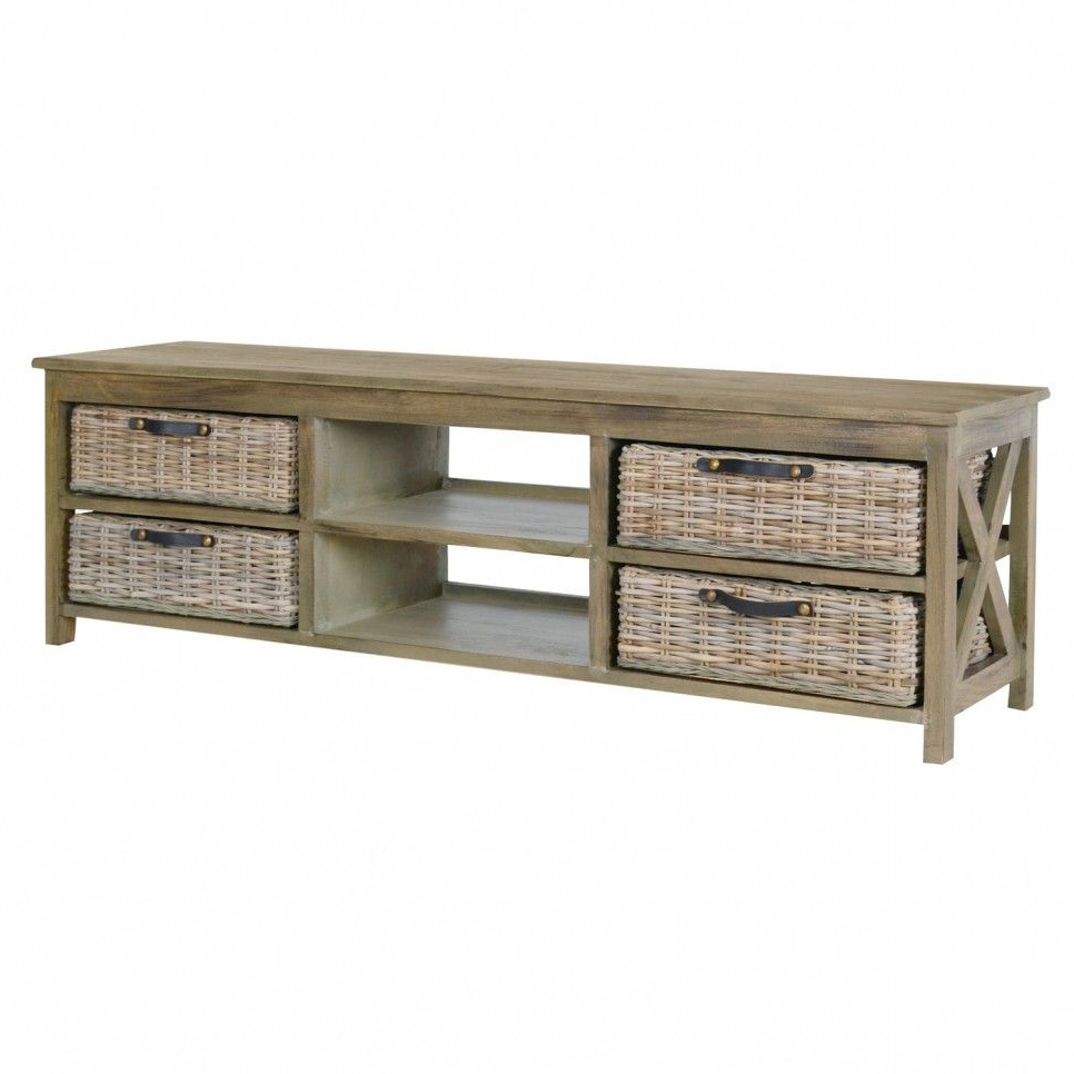 Furniture, Rustic Low Profile Tv Console Table With Rattan Basket Intended For Walters Media Console Tables (View 3 of 20)