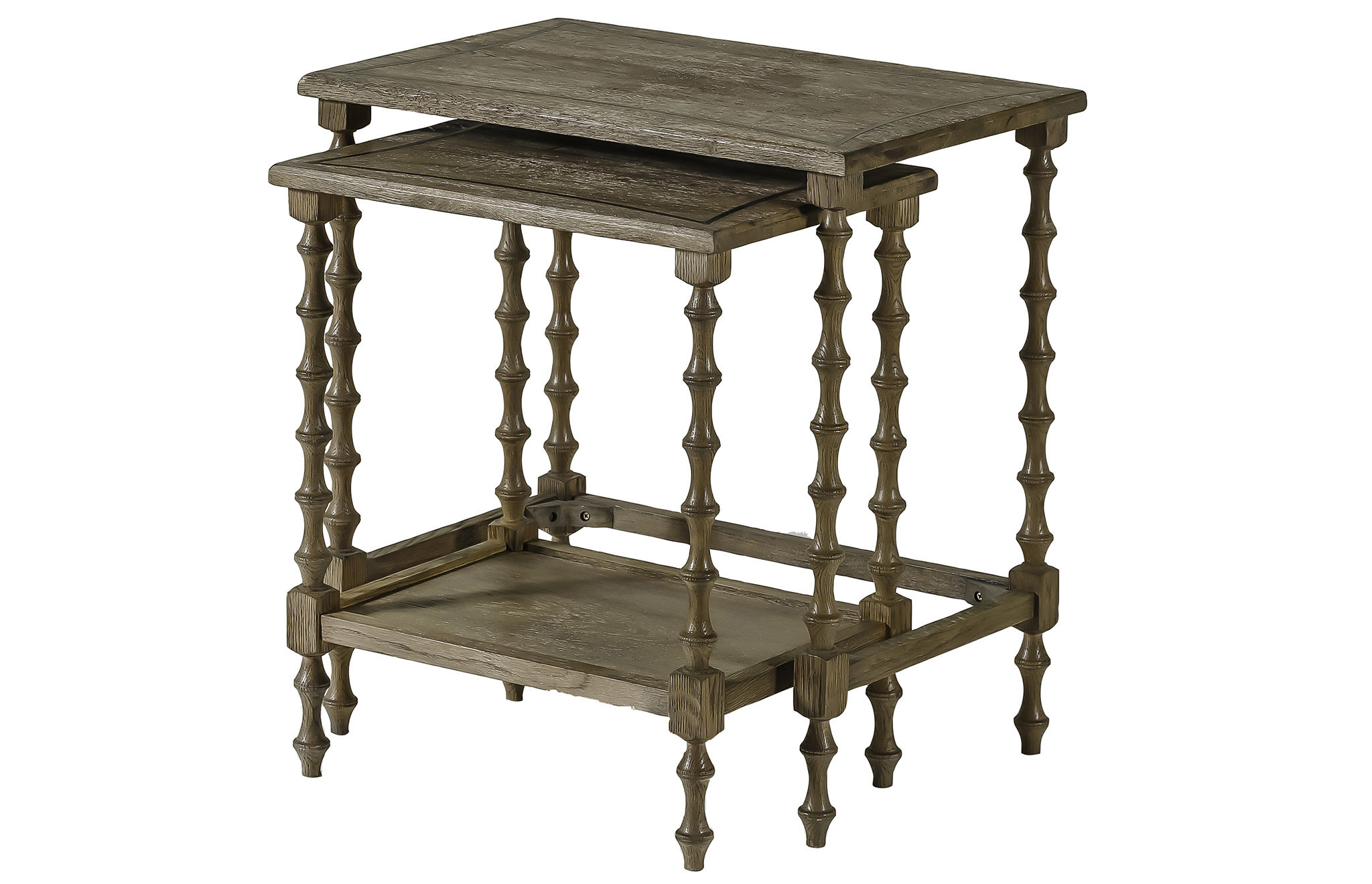 Gabby Lionel 2 Piece Nesting Tables | Wayfair Intended For Oak & Brass Stacking Media Console Tables (Gallery 19 of 20)