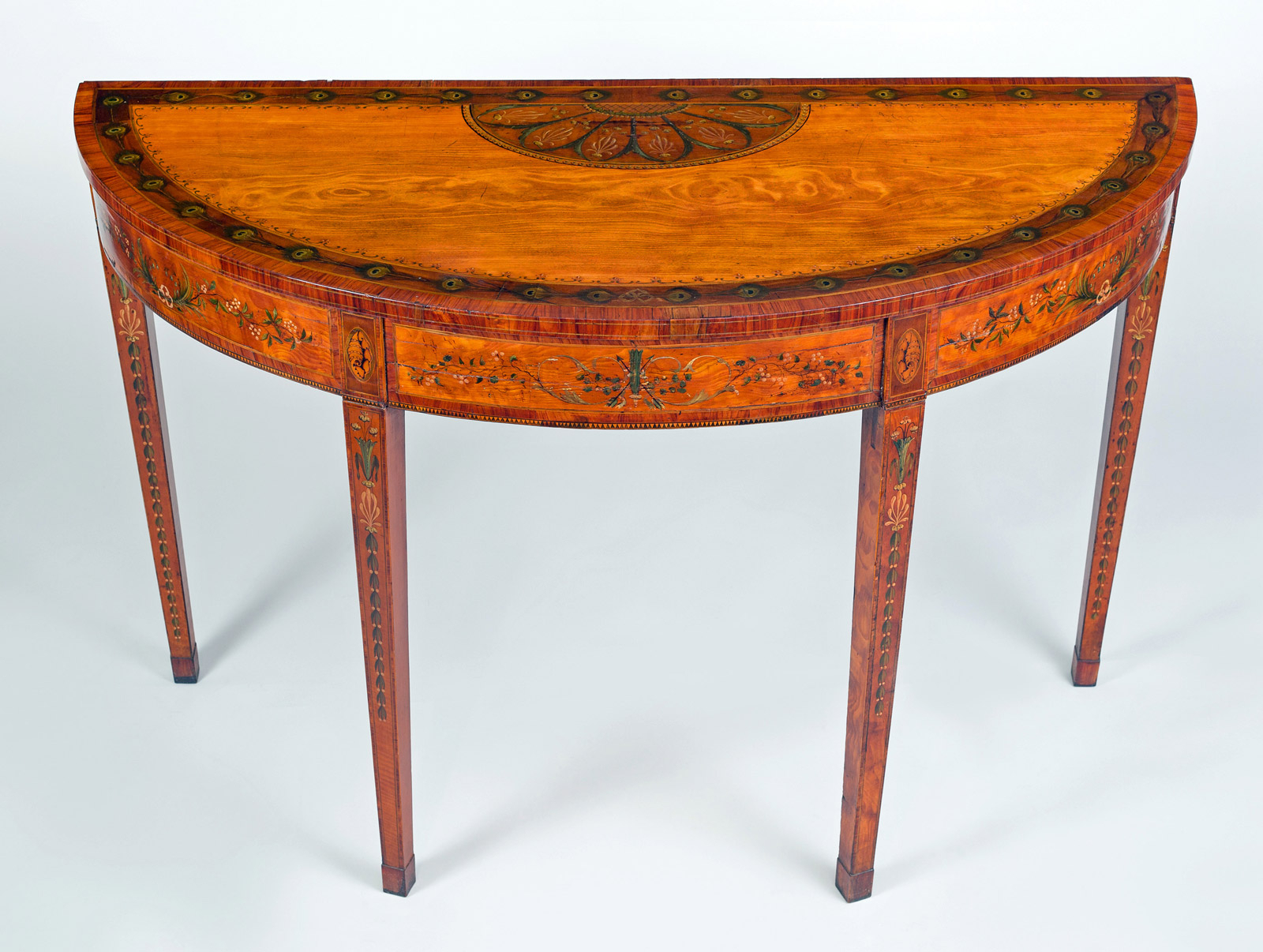 George Iii Inlaid Satinwood D Shaped Console Table With Regard To Orange Inlay Console Tables (View 2 of 20)