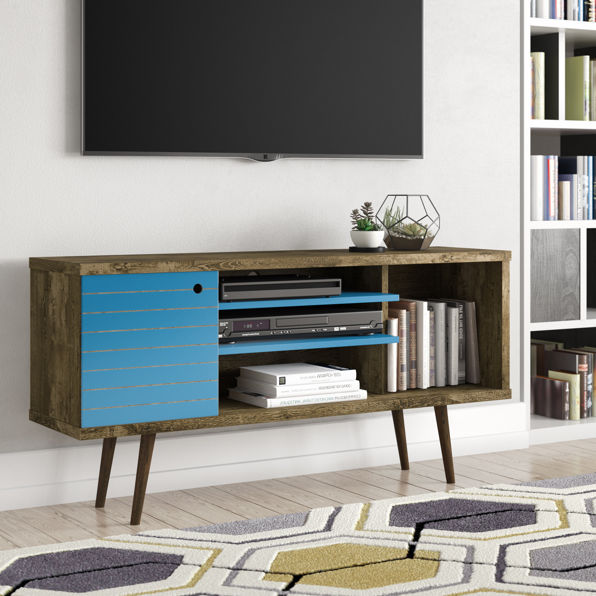 George Oliver Jabari Tv Stand For Tvs Up To 50'' & Reviews | Wayfair With Regard To Century Blue 60 Inch Tv Stands (View 7 of 20)