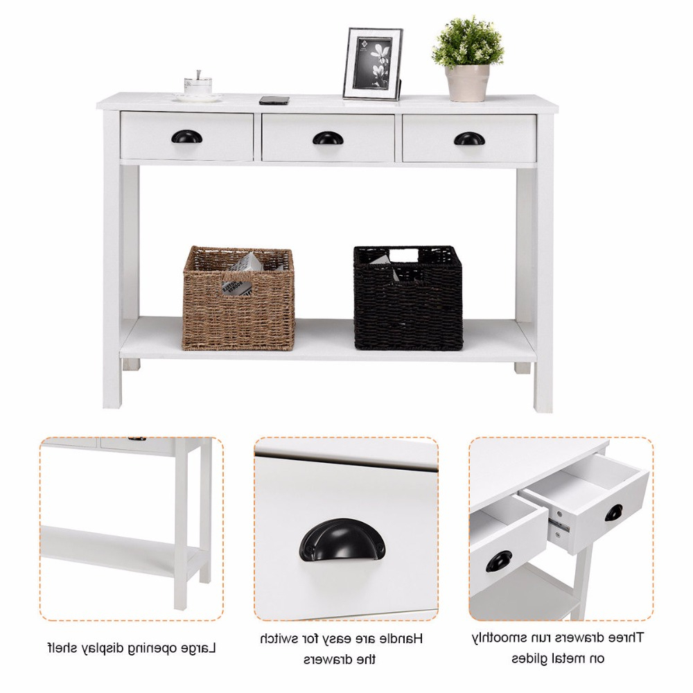 """Giantex 47"""" Console Table Hall Table Side Desk Accent Table Drawers Regarding Switch Console Tables (View 14 of 20)"""