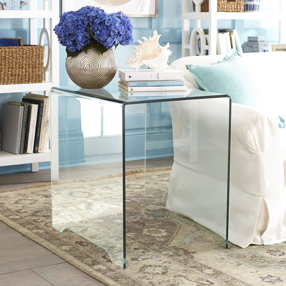 Glass Side Table | Glass Side Tables, Glass And Living Rooms Intended For Elke Glass Console Tables With Polished Aluminum Base (View 9 of 20)