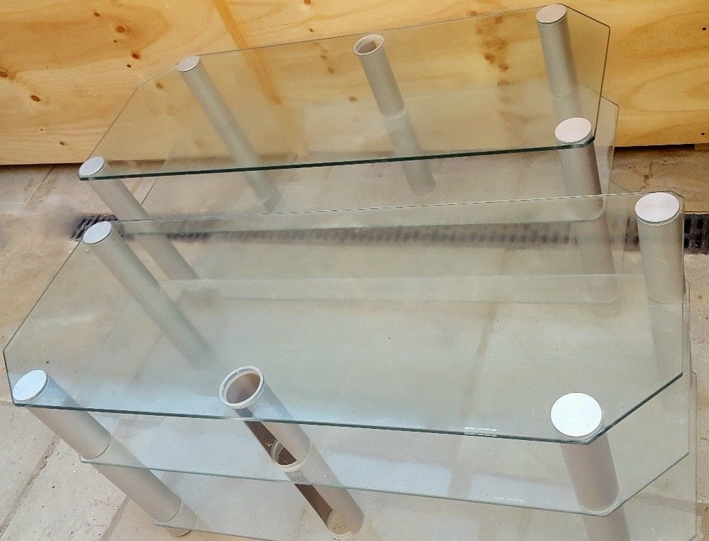 Glass Tv Stands 3 Shelves X 2 Bargain (excellent Condition) | In Throughout Maddy 50 Inch Tv Stands (View 20 of 20)