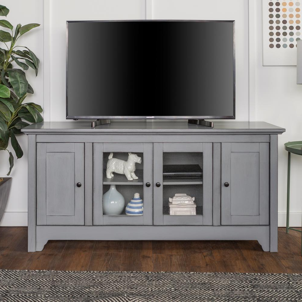 Gray – Tv Stands – Living Room Furniture – The Home Depot Regarding Abbott Driftwood 60 Inch Tv Stands (View 10 of 20)